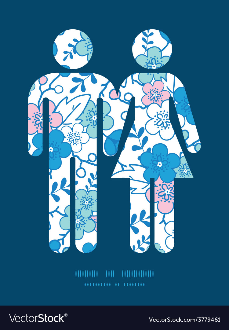 Blue and pink kimono blossoms couple in vector | Price: 1 Credit (USD $1)