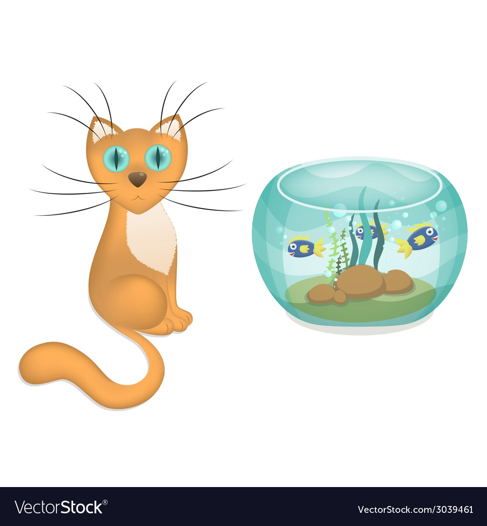 Cartoon cat and aquarium with fishes vector | Price: 1 Credit (USD $1)