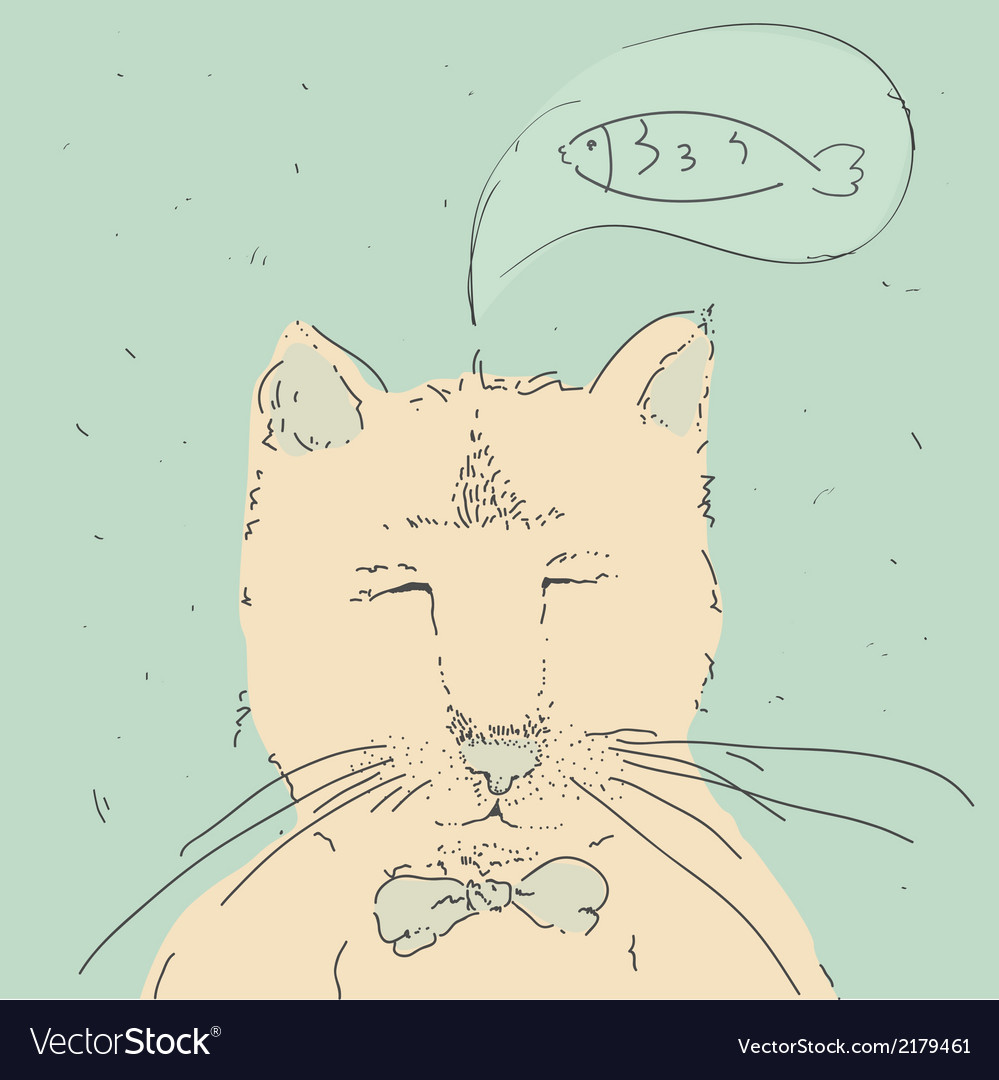Cartoon cute cat think about fish vector   Price: 1 Credit (USD $1)