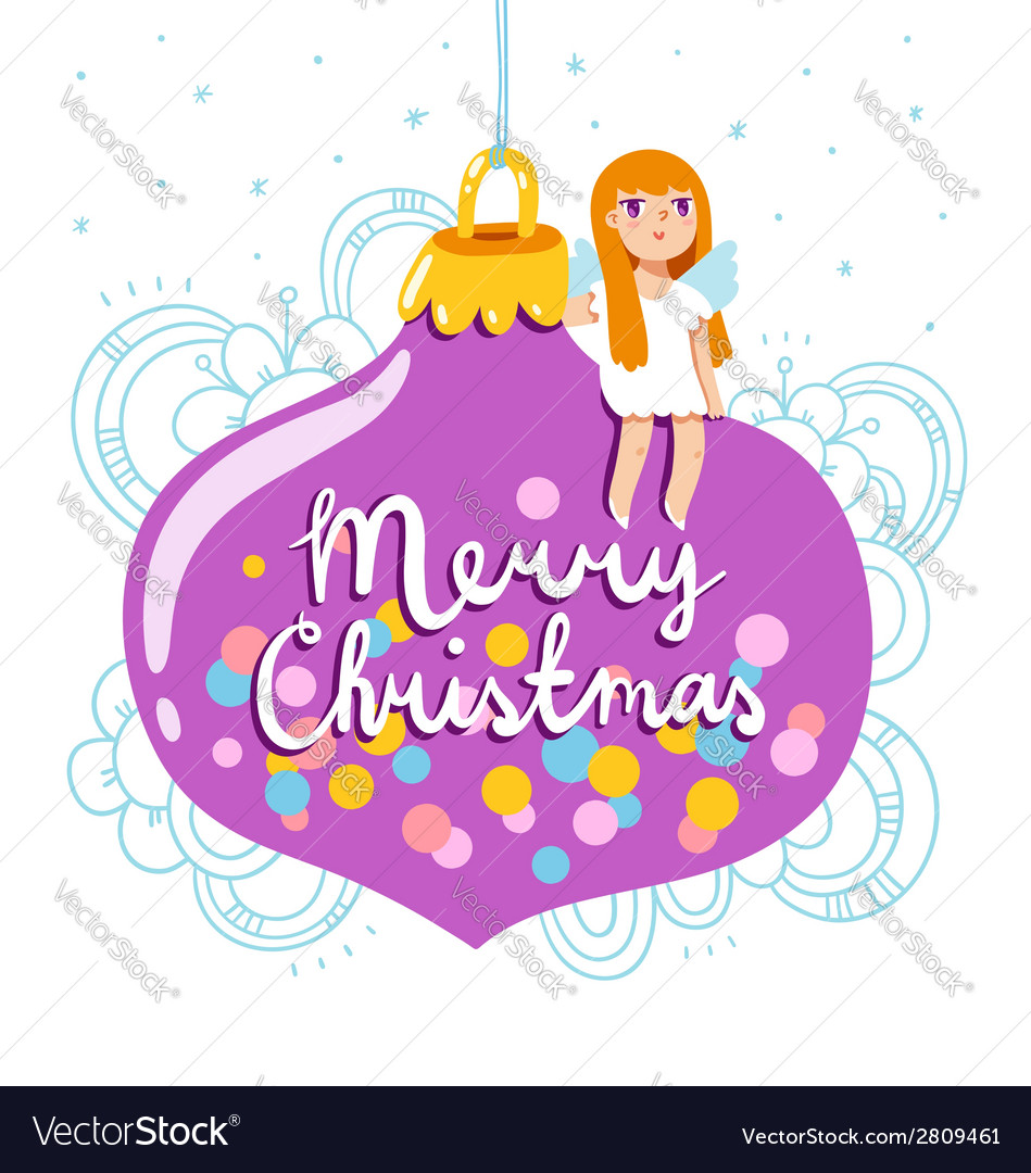 Christmas greeting card with glass globe and angel vector | Price: 1 Credit (USD $1)