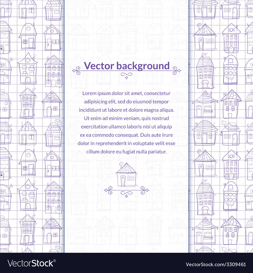 Contour houses background with pace for text vector | Price: 1 Credit (USD $1)