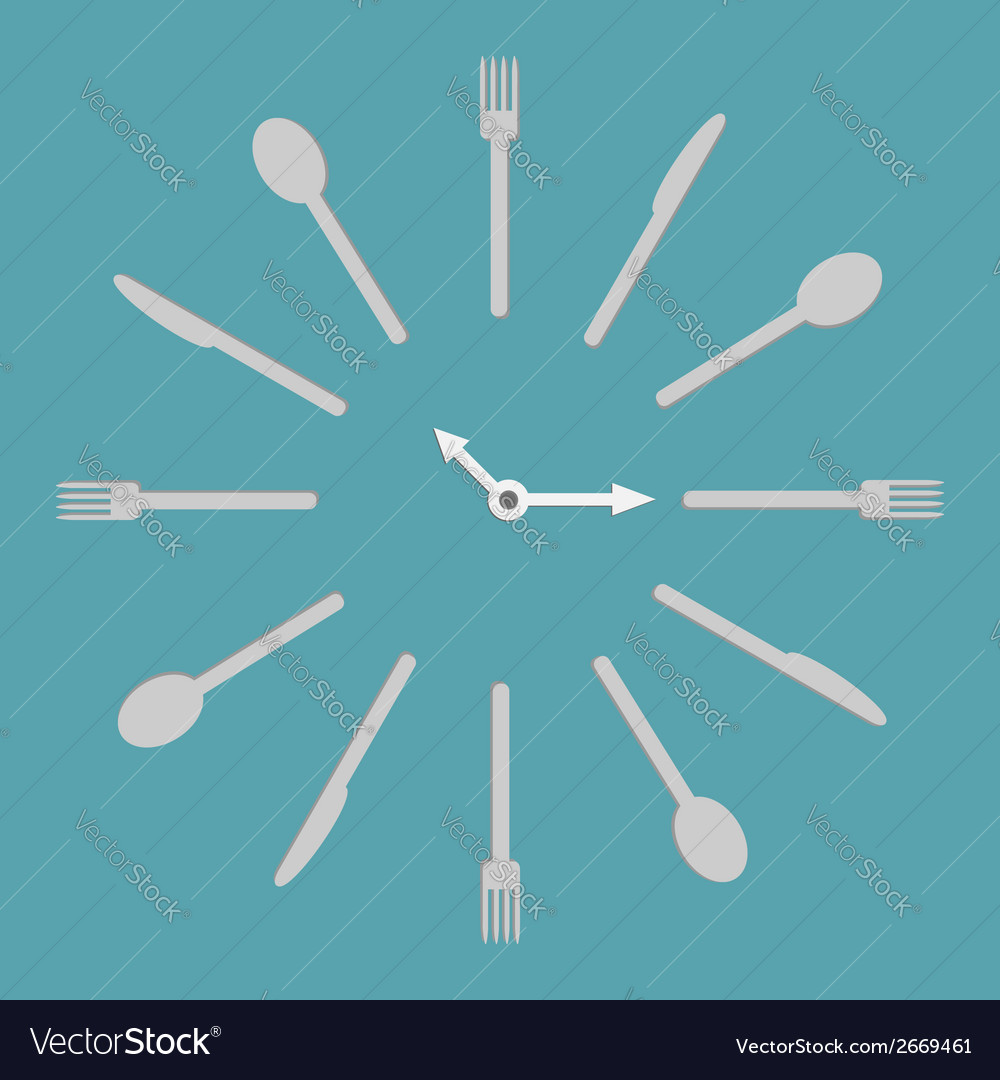 Fork knife spoon round clock menu cover template vector | Price: 1 Credit (USD $1)