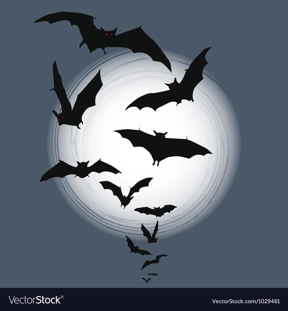 Halloween background - bats in full moon vector | Price: 1 Credit (USD $1)