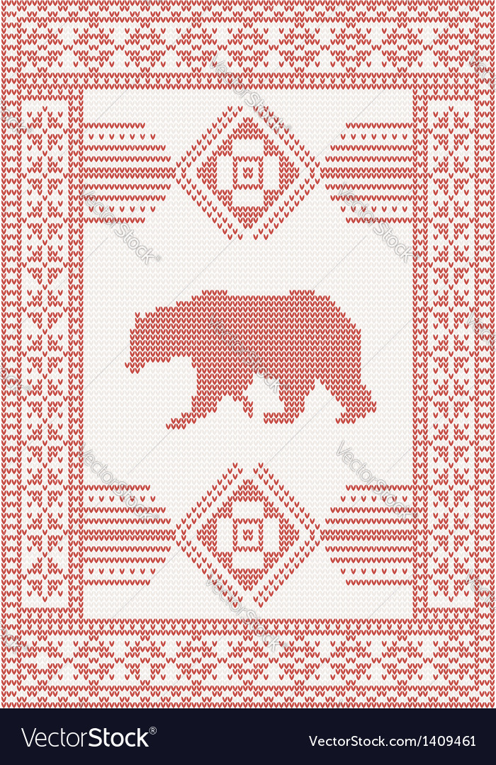 Knitted pattern with bear vector | Price: 1 Credit (USD $1)