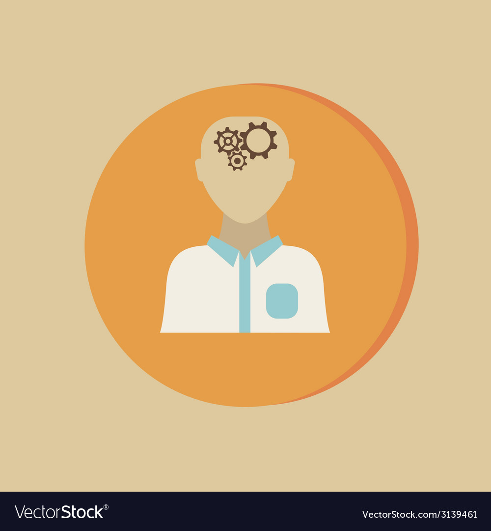 Man thinks the gears in head vector | Price: 1 Credit (USD $1)