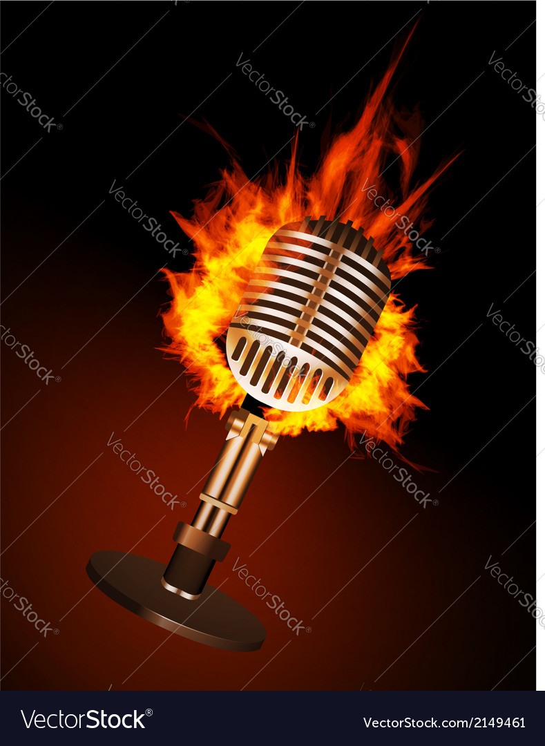 Microphone in fire vector | Price: 1 Credit (USD $1)