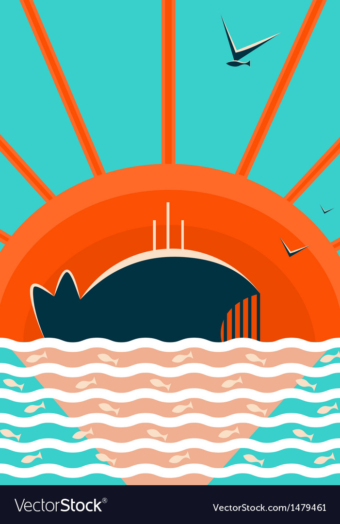 Sea landscape with whale background vector | Price: 1 Credit (USD $1)