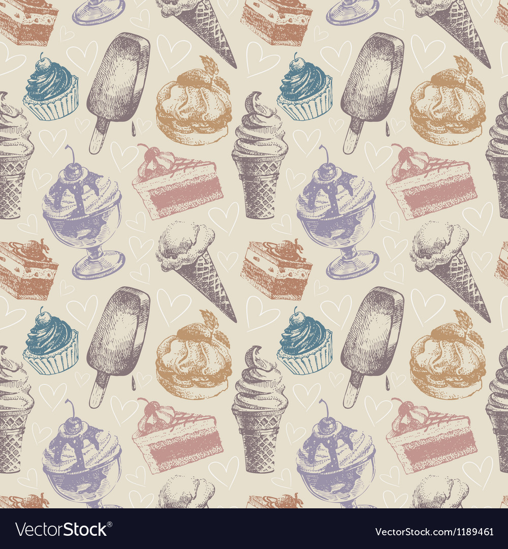 Seamless pattern with ice cream and cakes vector | Price: 1 Credit (USD $1)