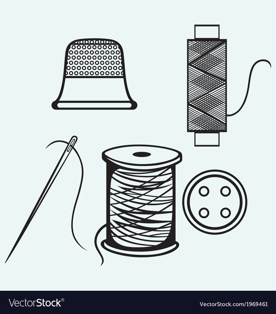Spool with threads sewing button and thimble vector | Price: 1 Credit (USD $1)