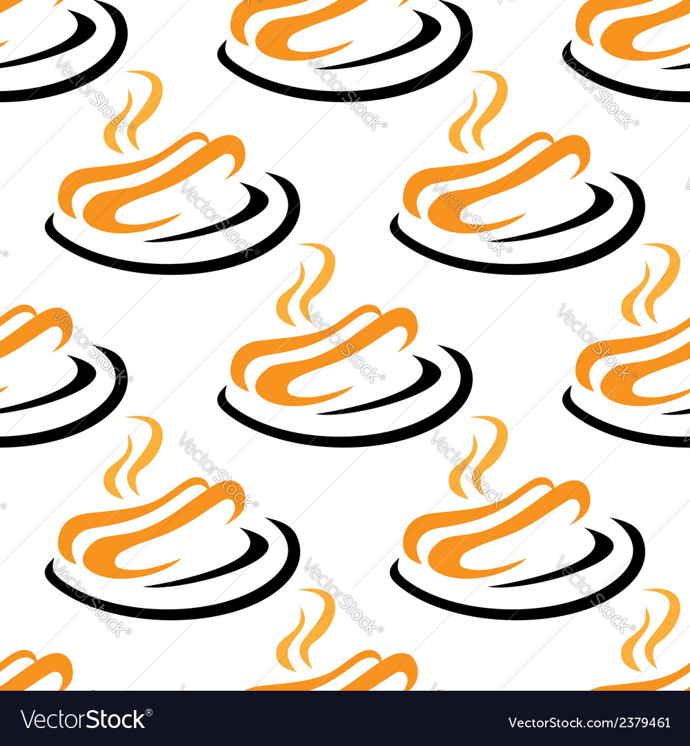Steaming hotdogs seamless pattern vector | Price: 1 Credit (USD $1)