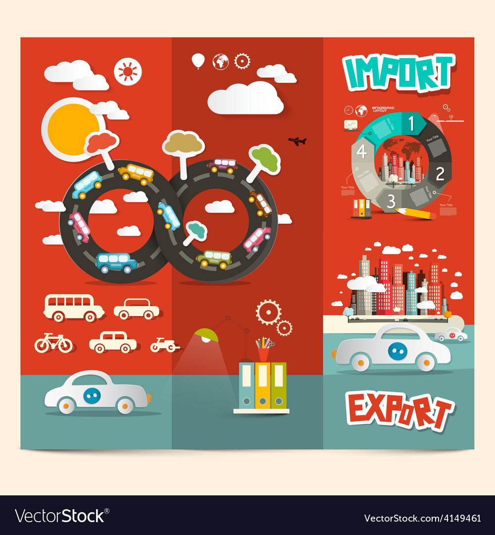 Transport - export import red retro brochure vector | Price: 1 Credit (USD $1)