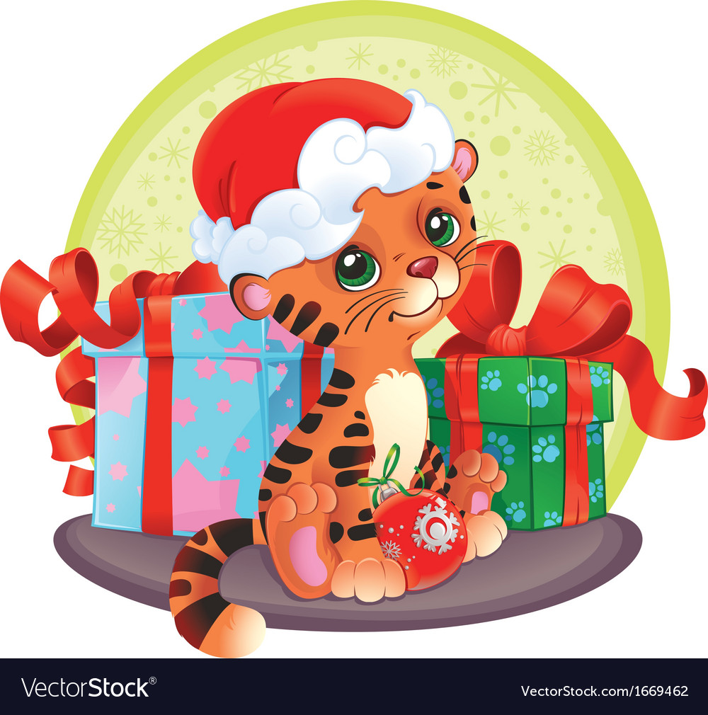 Adorable tiger-cub with christmas and new year gif vector | Price: 1 Credit (USD $1)