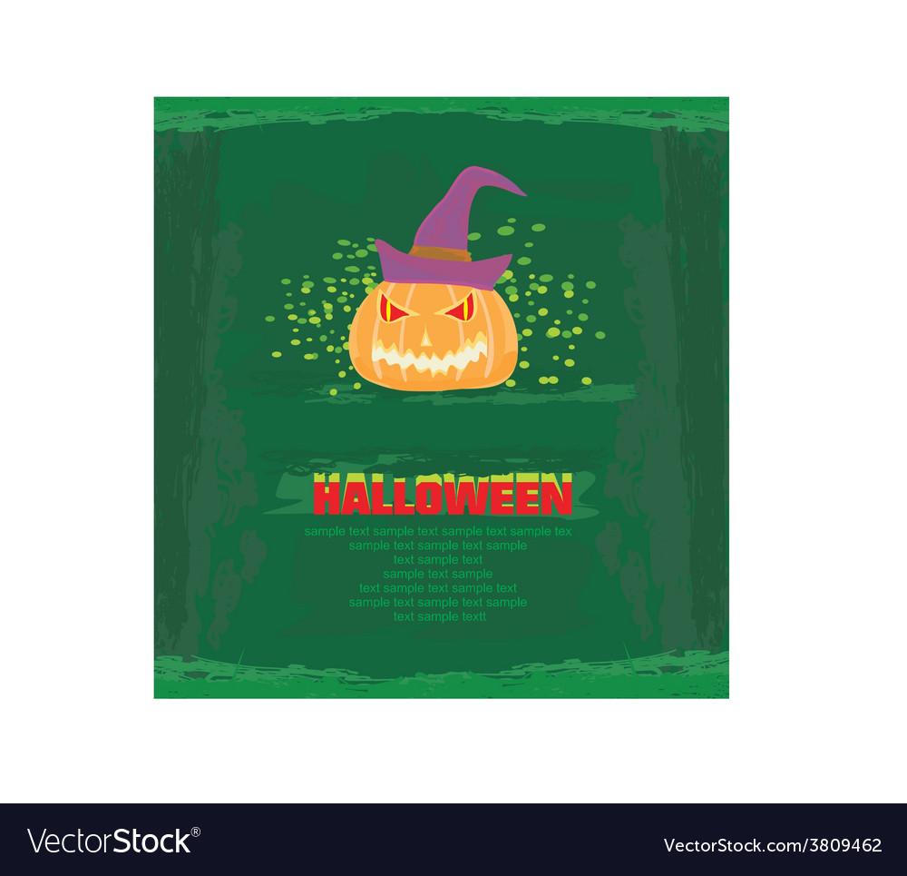 Broken halloween pumpkin on grunge green vector | Price: 1 Credit (USD $1)
