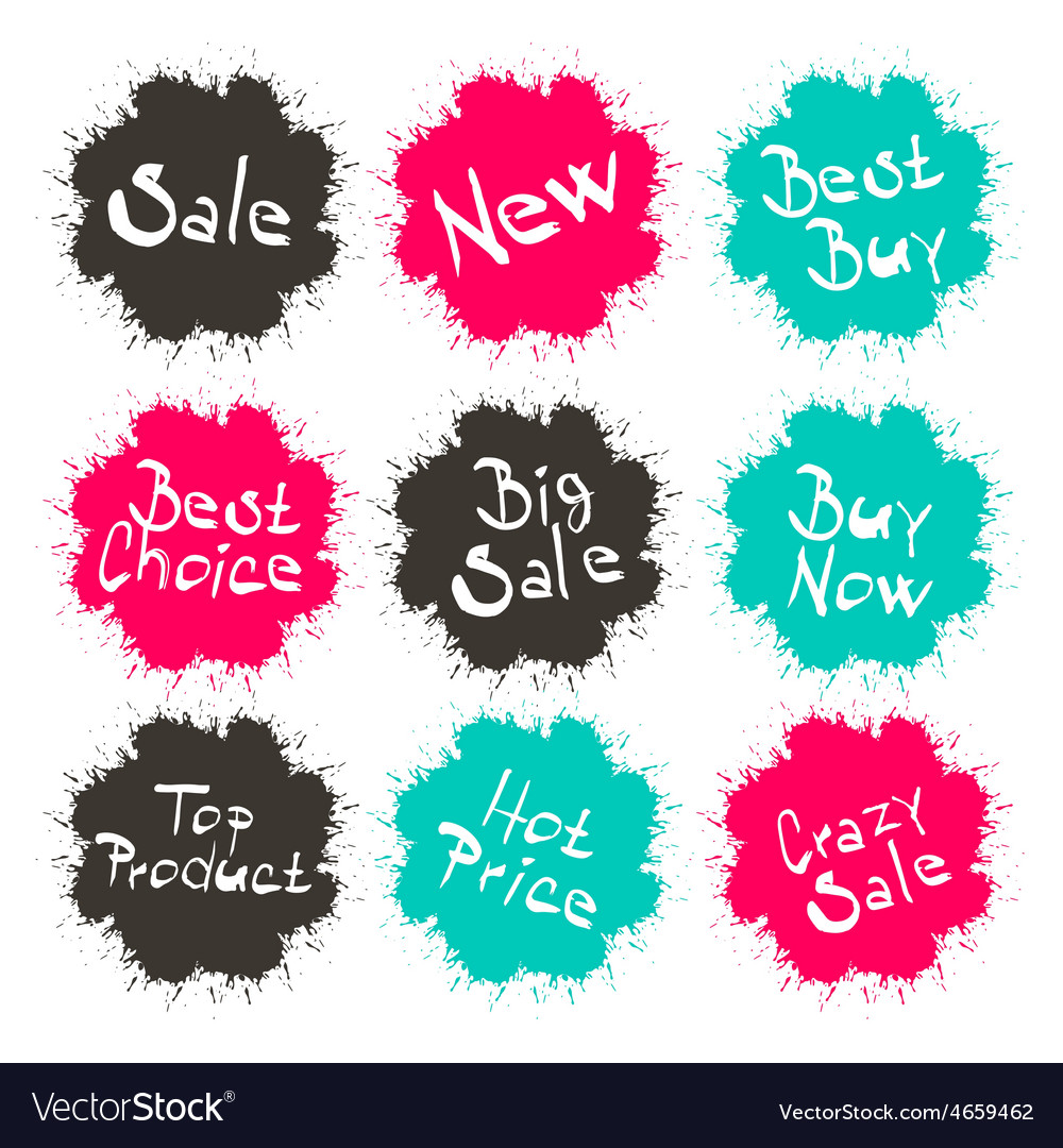 Business splashes - blots icons with sale - new - vector | Price: 1 Credit (USD $1)