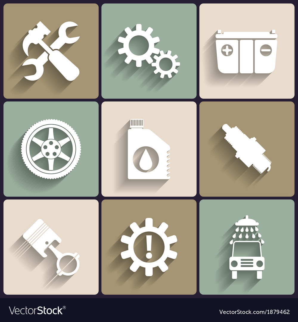 Car service maintenance flat icon set vector | Price: 1 Credit (USD $1)
