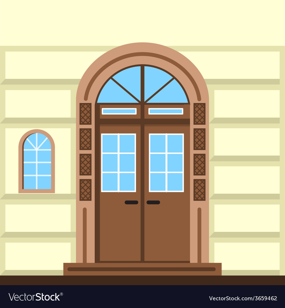 Flat of commerce building facade door vector | Price: 1 Credit (USD $1)