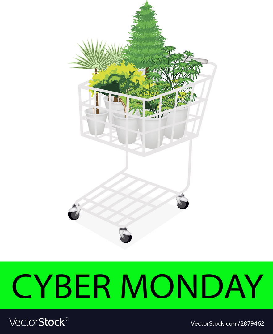Green trees and plants in cyber monday shopping vector | Price: 1 Credit (USD $1)
