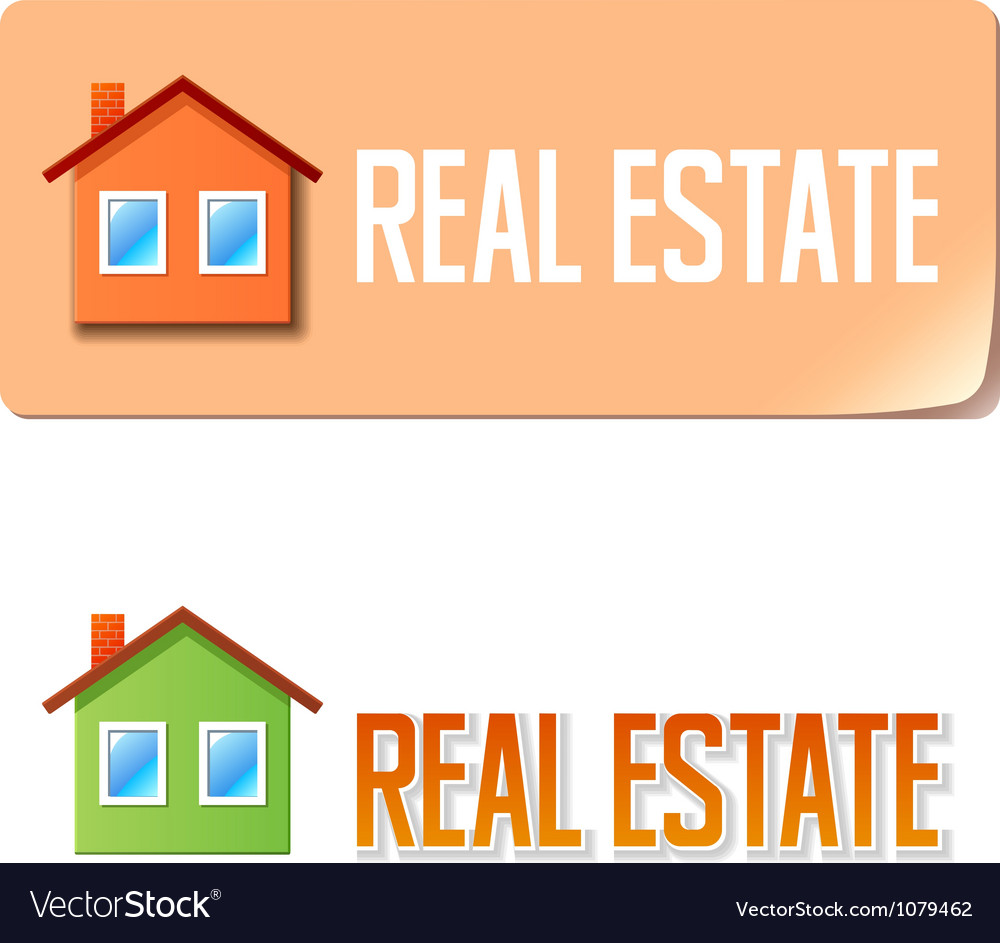 Real estate banner with house icon vector | Price: 1 Credit (USD $1)