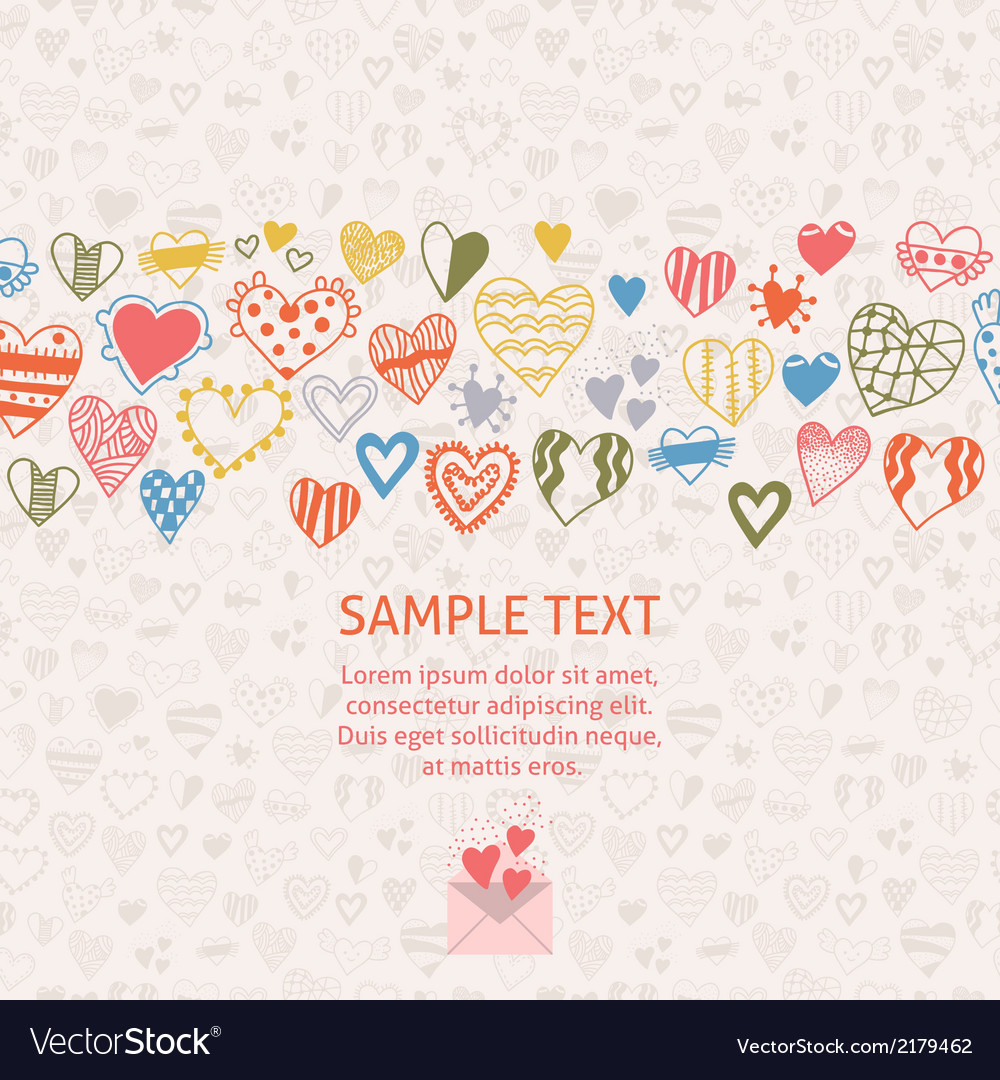 Romantic card with ornament of hearts vector | Price: 1 Credit (USD $1)