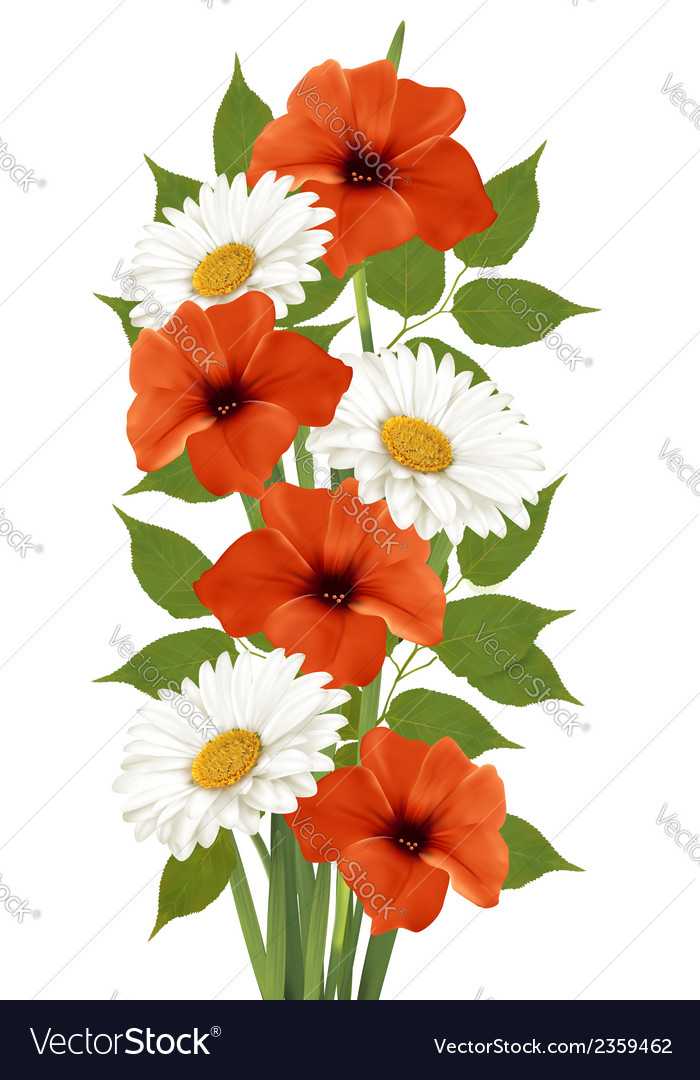 Summer background with colorful beautiful flowers vector | Price: 1 Credit (USD $1)
