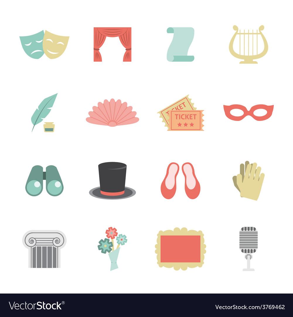 Theatre icon flat vector   Price: 1 Credit (USD $1)