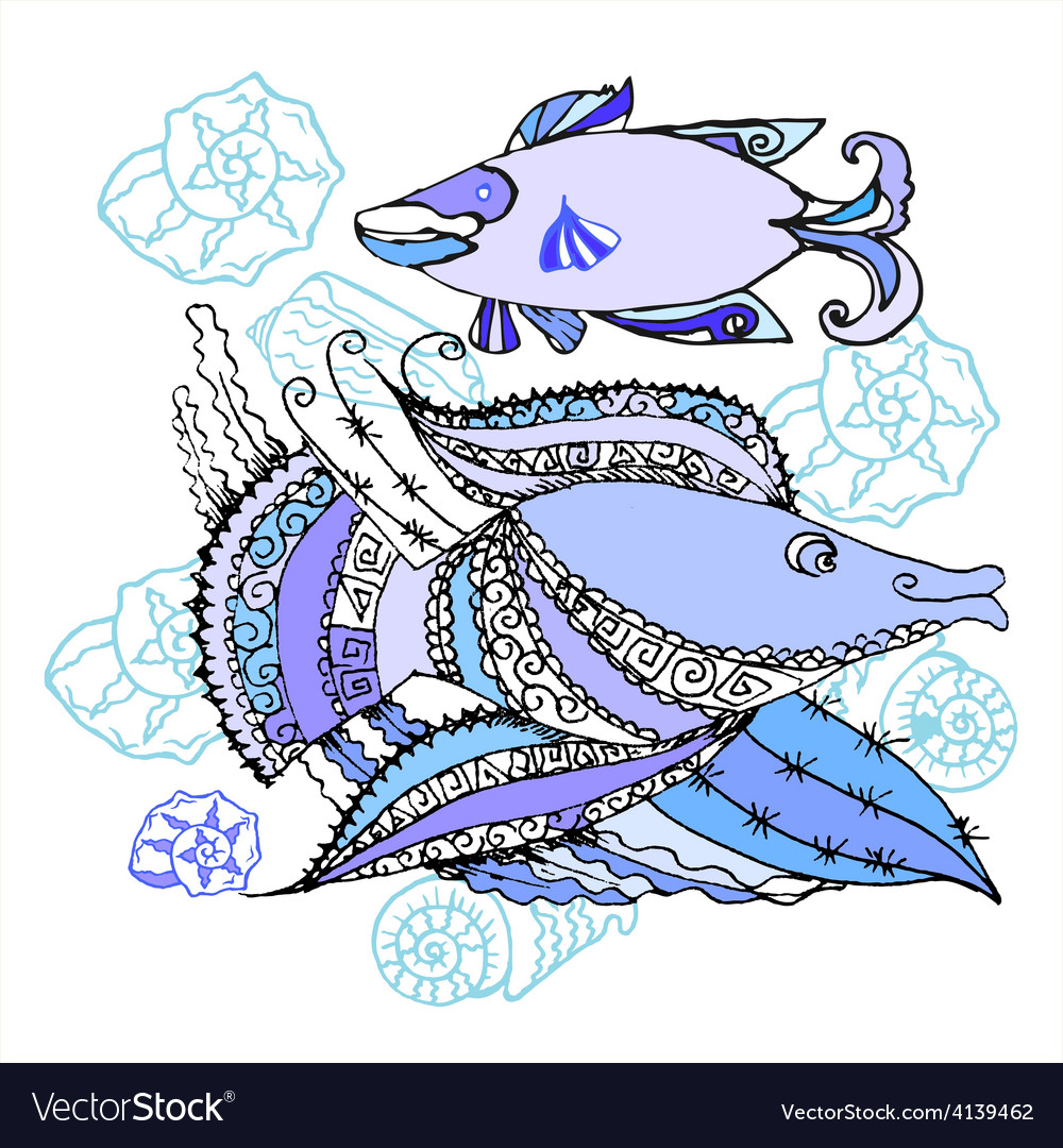 Two fishes and cockleshells vector | Price: 1 Credit (USD $1)