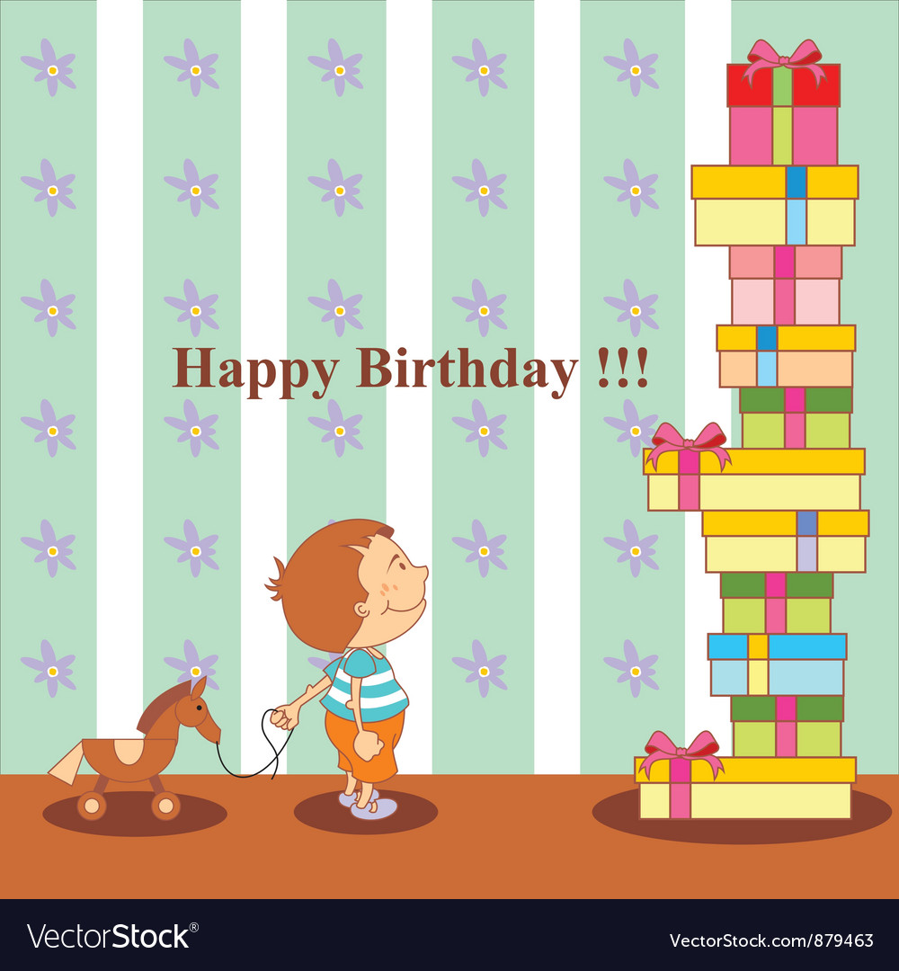Birthday boy and many gifts vector | Price: 1 Credit (USD $1)