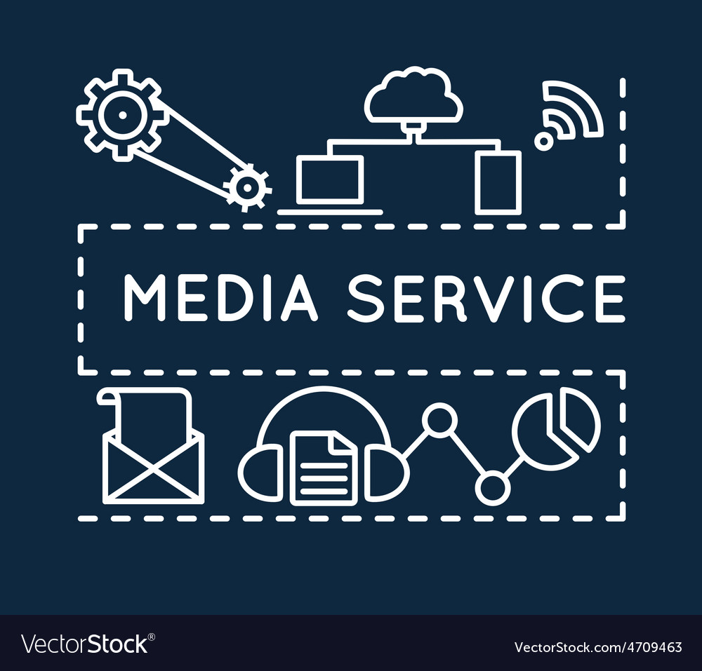 Concept of media service linear style vector | Price: 1 Credit (USD $1)