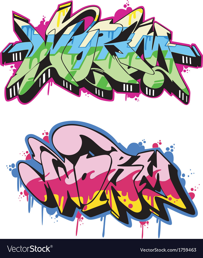 Graffito text design - worm color vector | Price: 1 Credit (USD $1)