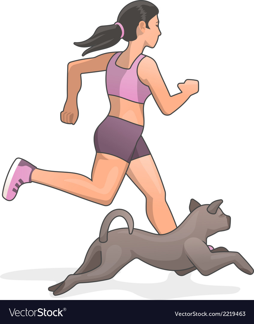 Jogging with dog vector | Price: 1 Credit (USD $1)