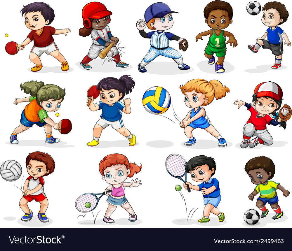Kids engaging in different sports activities vector | Price: 1 Credit (USD $1)