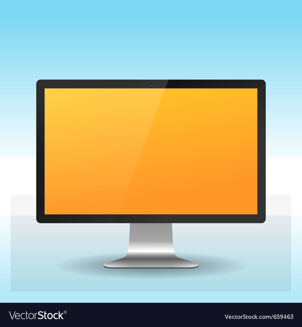 Lcd monitor on blue vector | Price: 1 Credit (USD $1)
