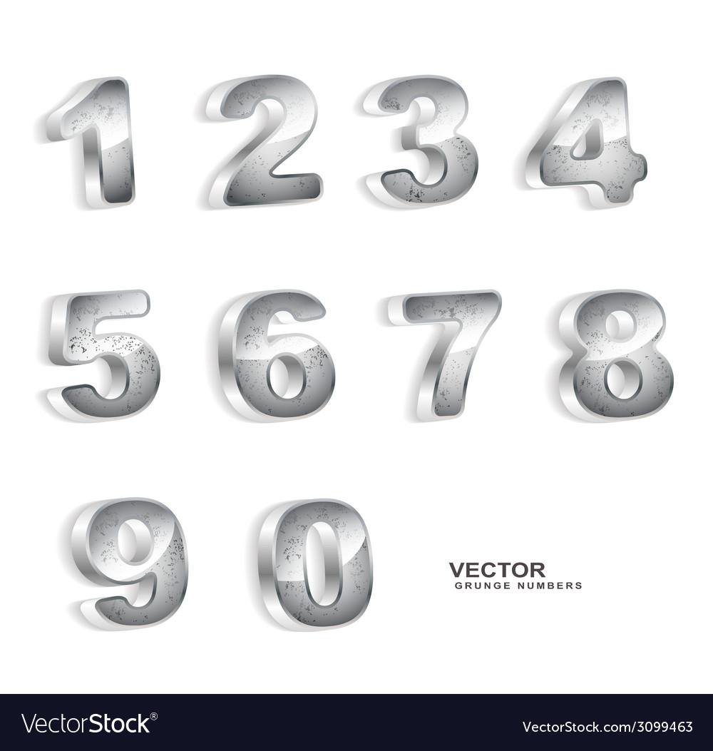 Metallic grunge 3d numbers vector | Price: 1 Credit (USD $1)