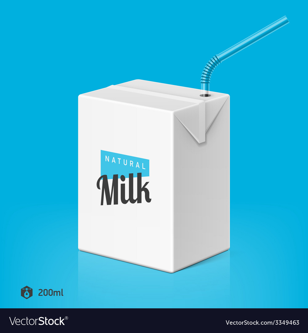 Milk package with drinking straw template vector | Price: 1 Credit (USD $1)