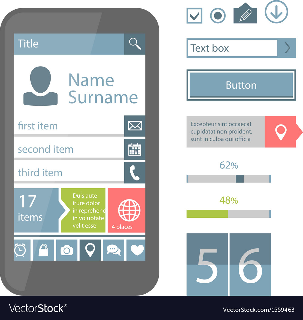 Mobile flat ui elements vector | Price: 1 Credit (USD $1)