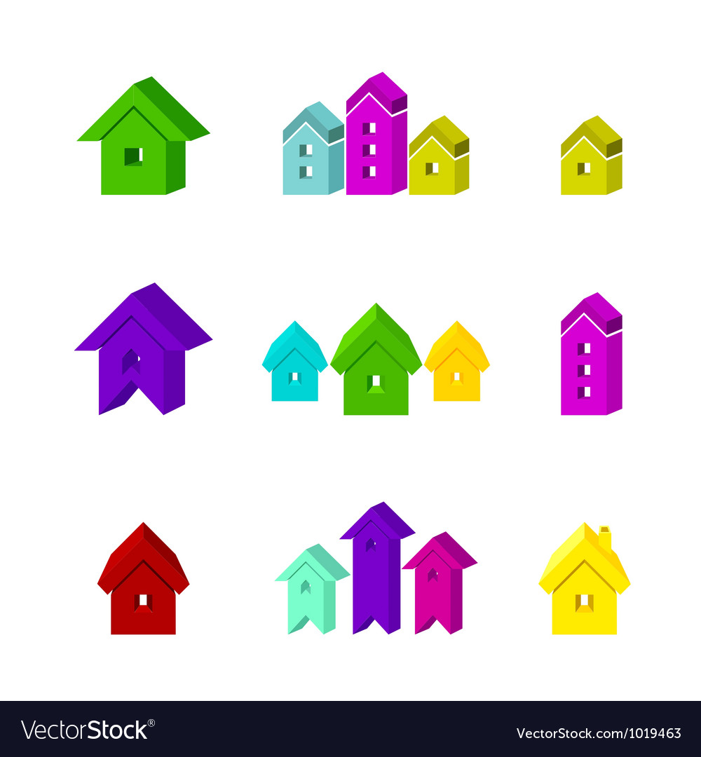 Set of house icon for advertising real estate vector   Price: 1 Credit (USD $1)