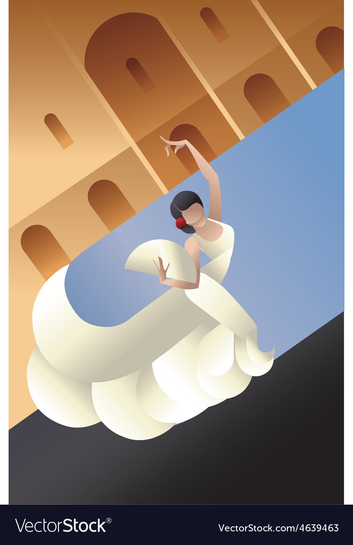 Styled spain flamenco dancer on sity landscape vector | Price: 1 Credit (USD $1)