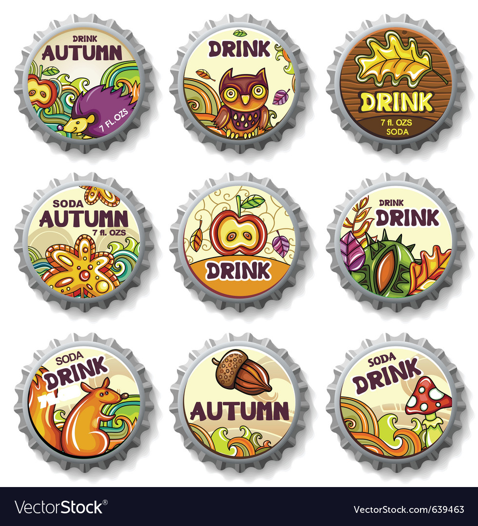 Thanksgiving bottle caps vector | Price: 5 Credit (USD $5)