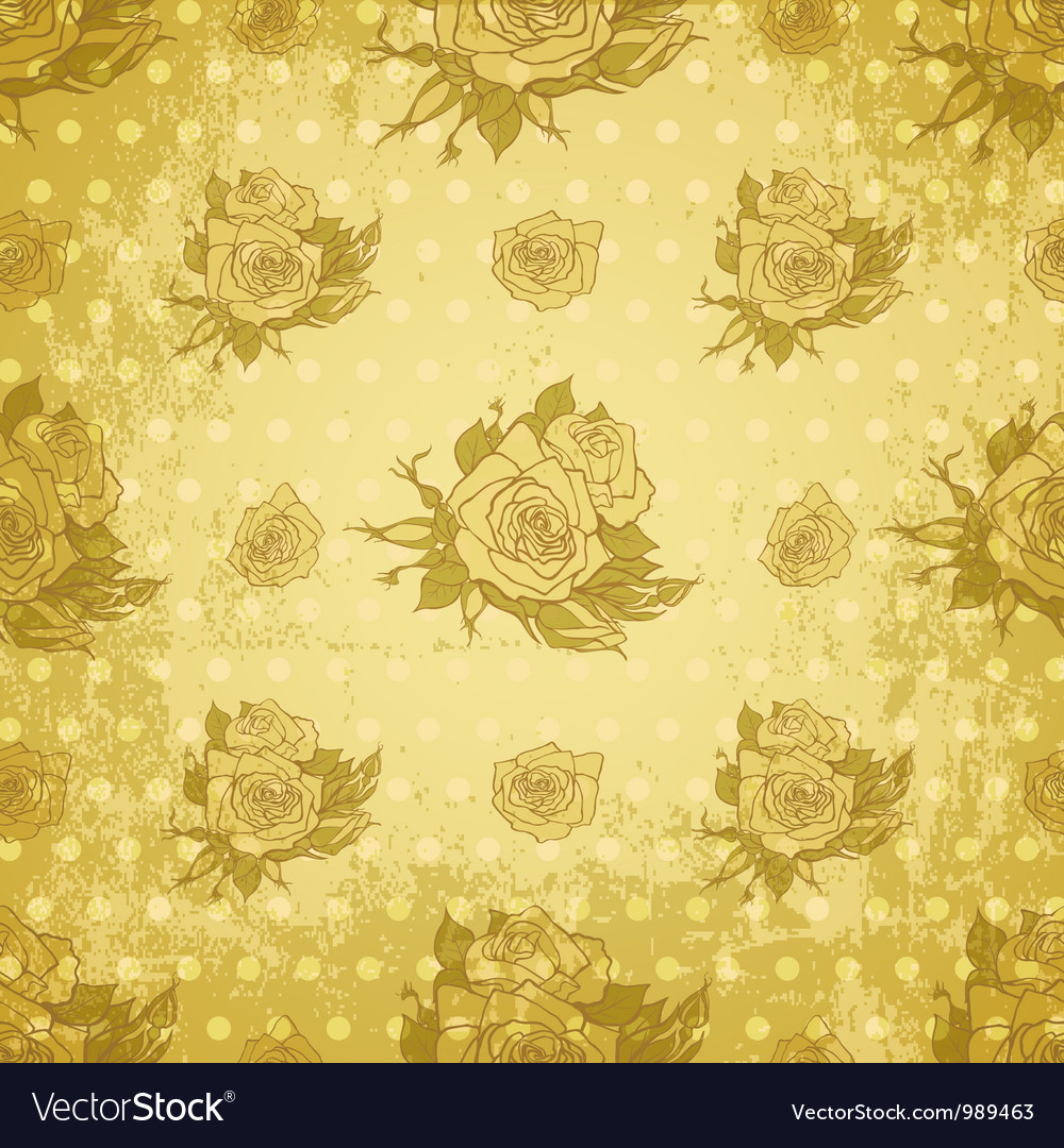 Vintage wallpaper with seamless rose pattern vector | Price: 1 Credit (USD $1)