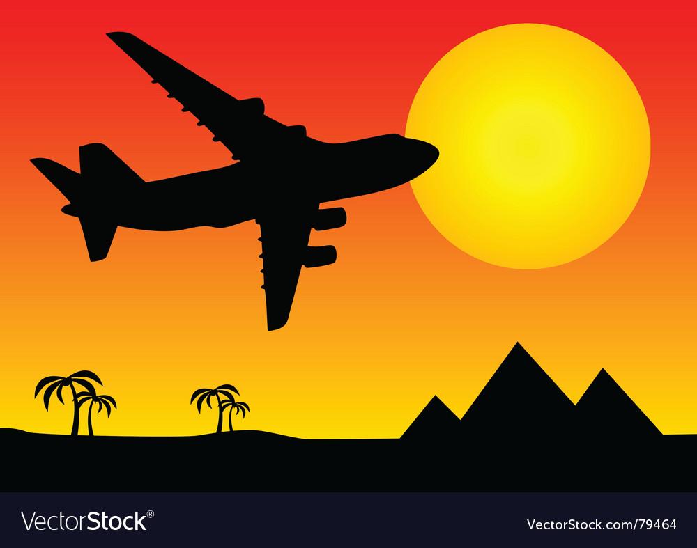 Aeroplane above pyramids vector   Price: 1 Credit (USD $1)