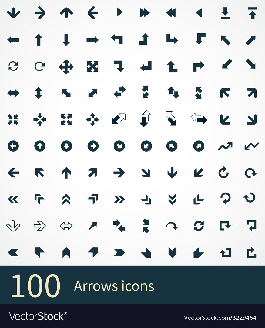 Arrows 100 icons vector | Price: 1 Credit (USD $1)