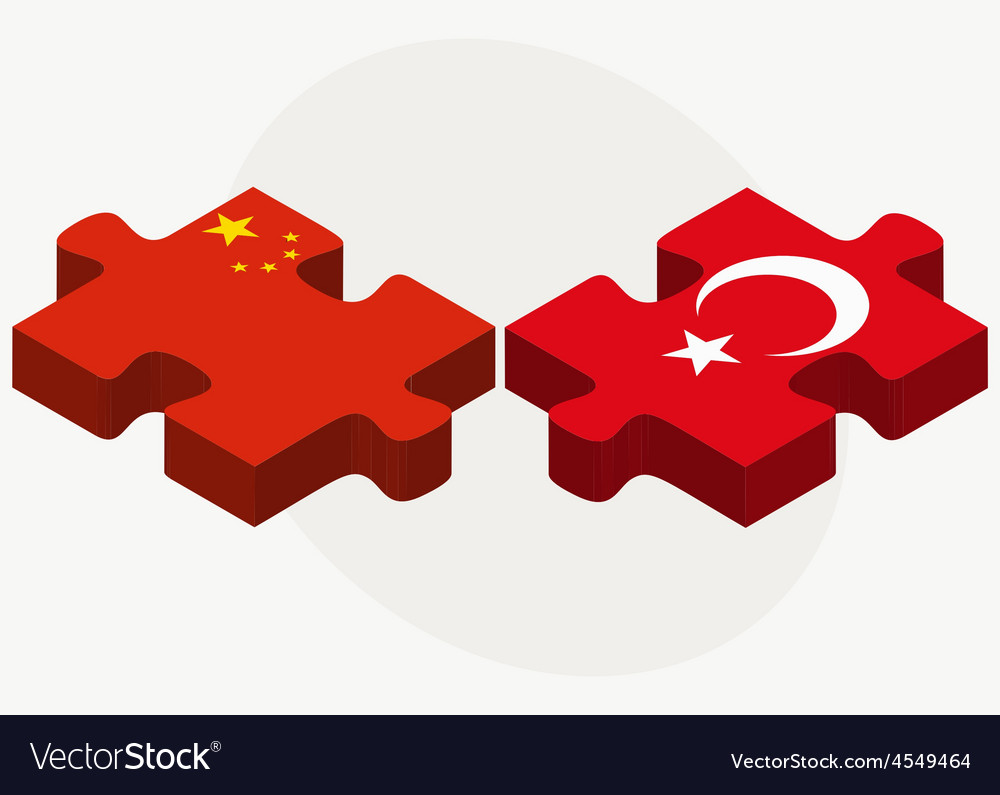 China and turkey flags in puzzle vector | Price: 1 Credit (USD $1)