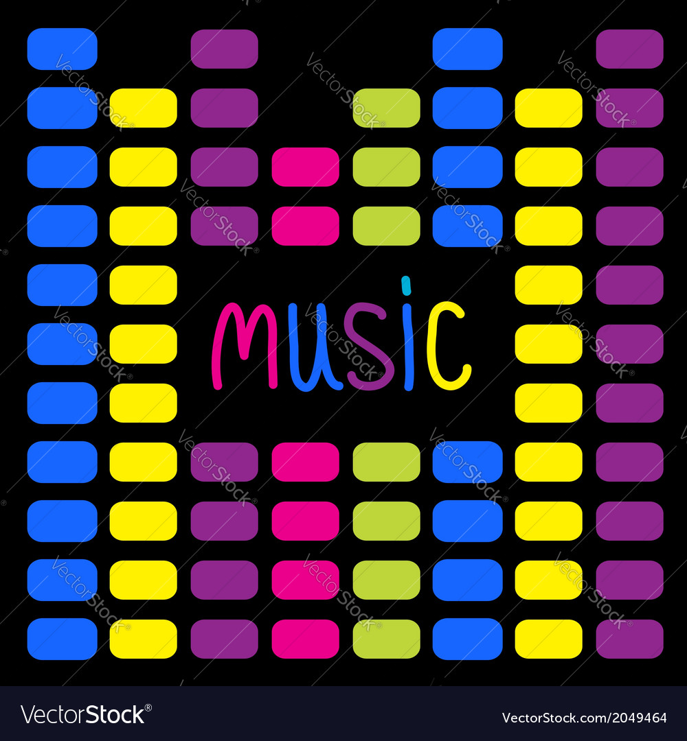 Colurful digital equalizer and word music card vector | Price: 1 Credit (USD $1)