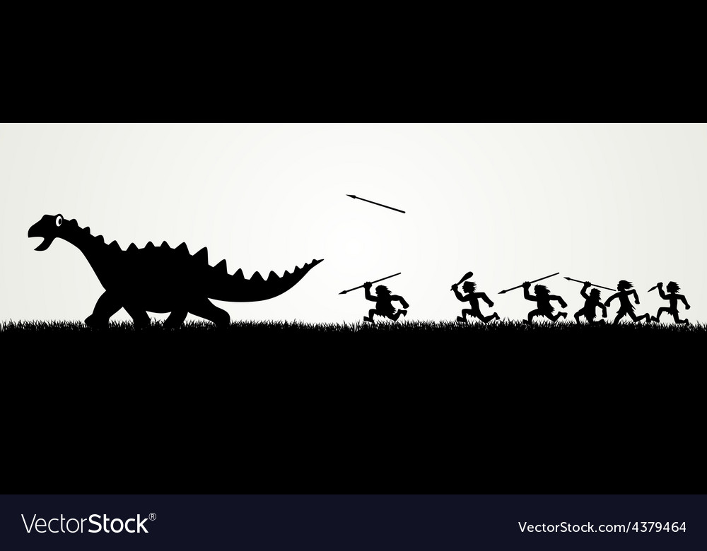Dino hunting vector | Price: 1 Credit (USD $1)