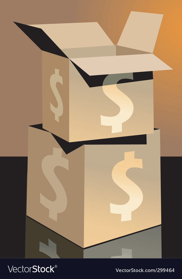 Dollar and cartons vector | Price: 1 Credit (USD $1)