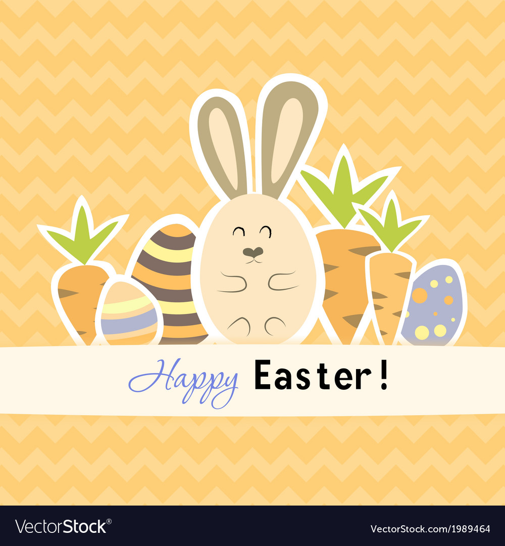 Easter orange card with carrots and rabbit vector | Price: 1 Credit (USD $1)