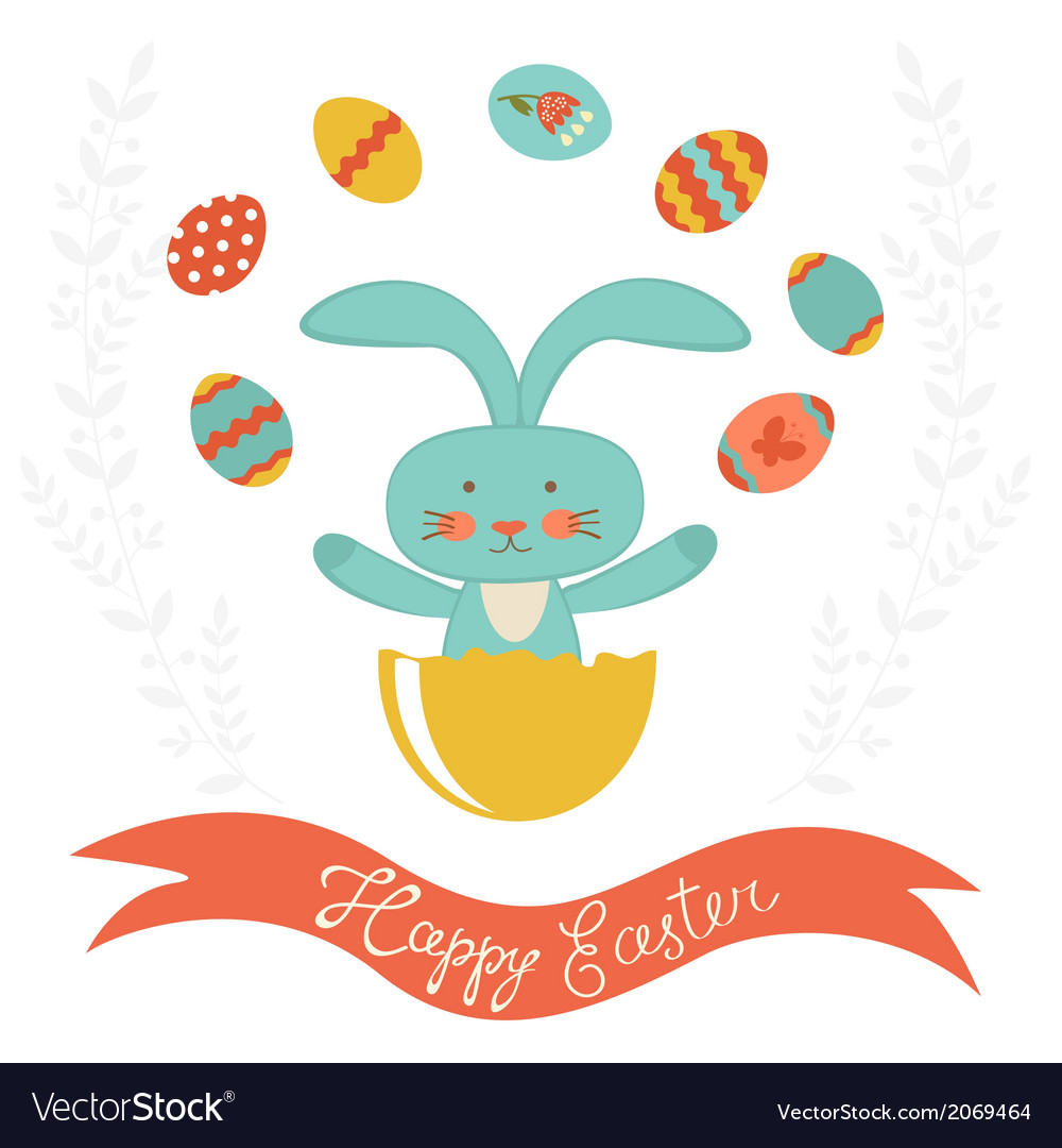 Easter rabbit hatching and juggling with easter vector | Price: 1 Credit (USD $1)