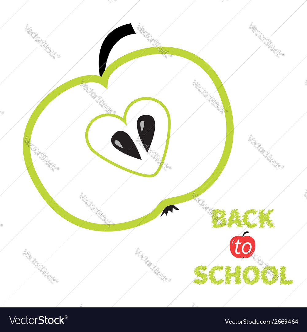 Green apple with heart center seed back to school vector | Price: 1 Credit (USD $1)