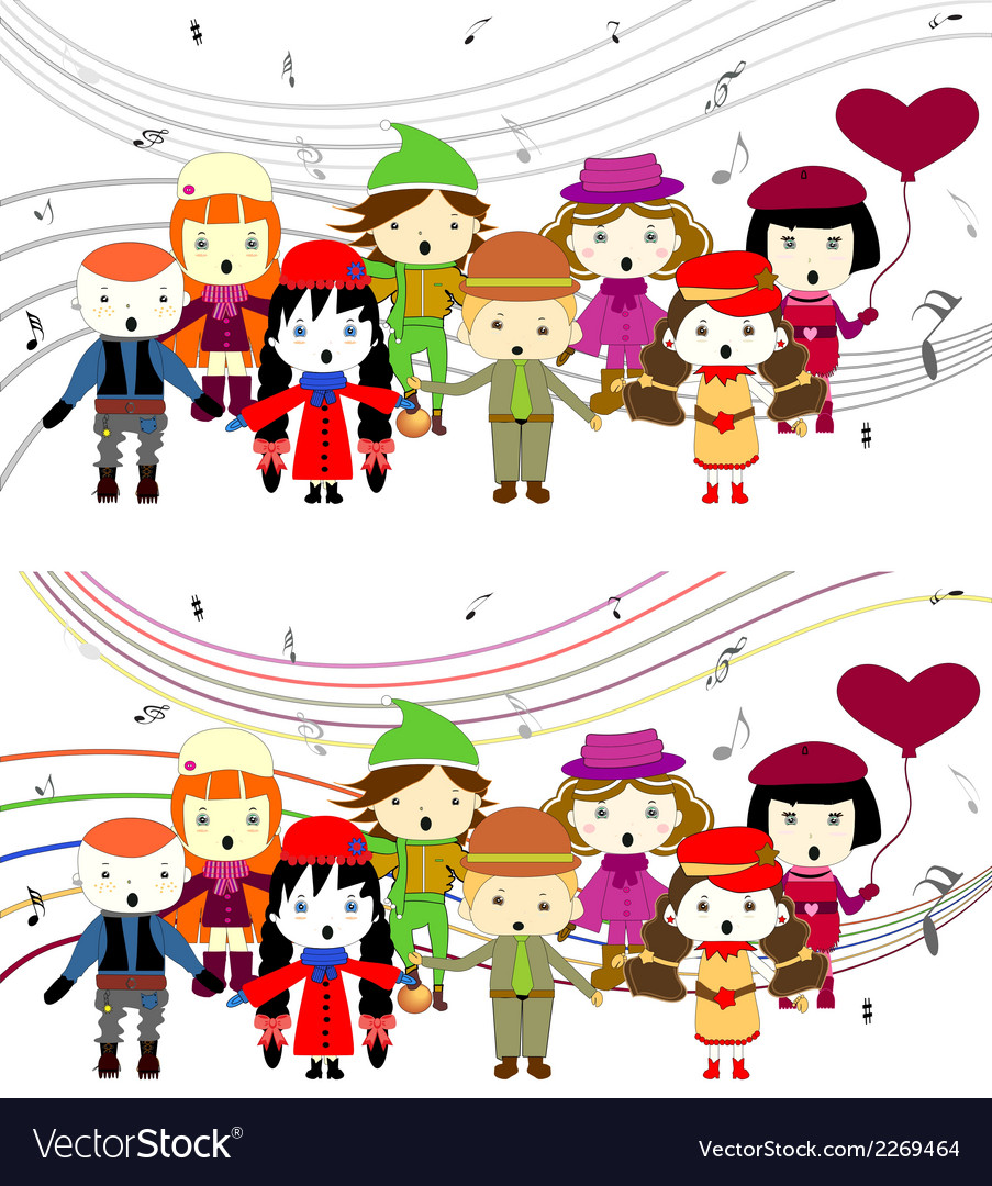 Group of kids singing vector | Price: 1 Credit (USD $1)
