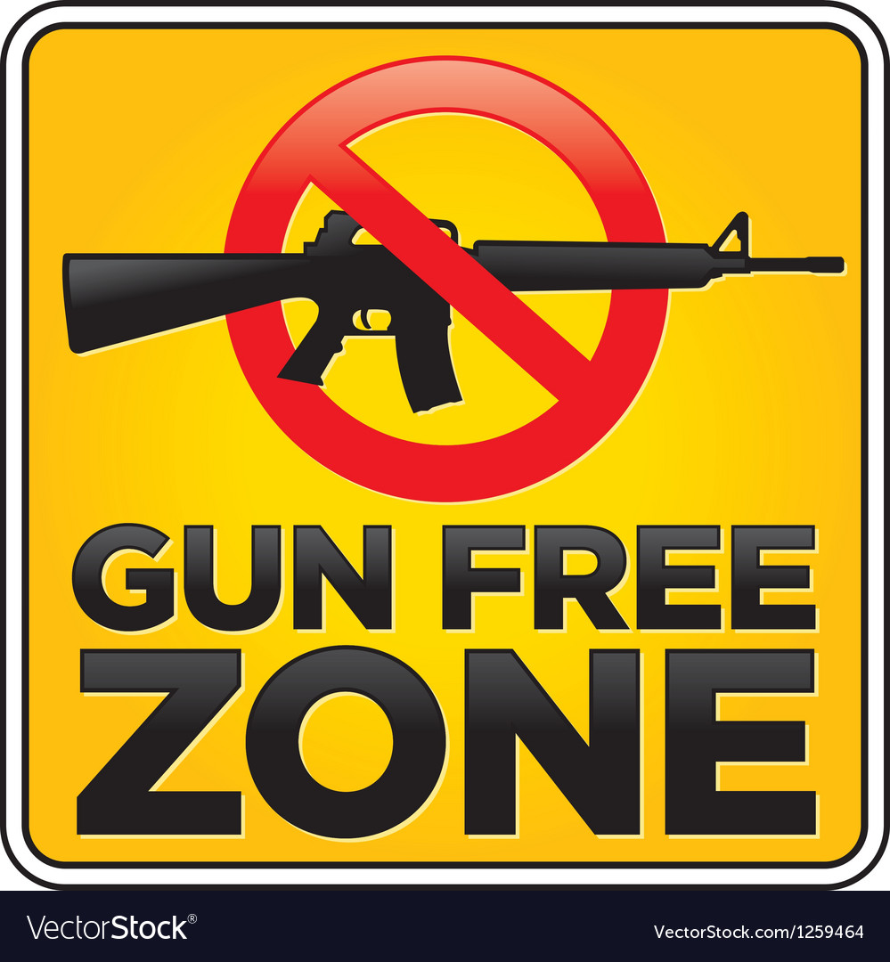 Gun free zone sign assault rifle vector | Price: 1 Credit (USD $1)